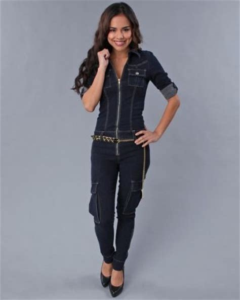 Baju Jumper Jumpsuit Overall Jumpsuit Denim baby womens denim jumpsuit zip up leg belted cargo jumper free shipping