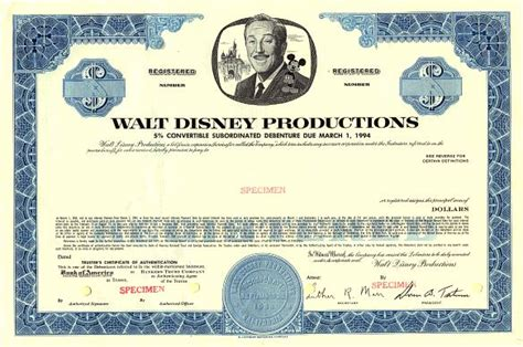 Ready Bonds Disney by Walt Disney Productions 5 Convertible Debenture 1969