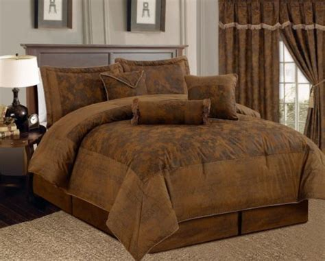 brown queen comforter new 7 pc queen size brown bronze suede comforter set bed
