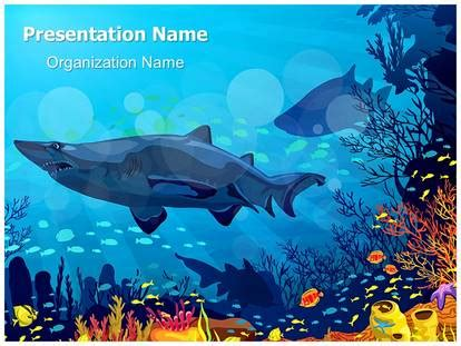 coral reef with sharks powerpoint template background