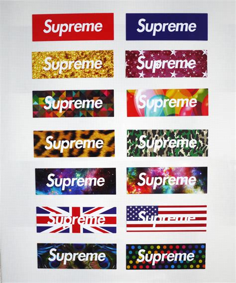 supreme stickers 14pcs vinyl stickers supreme logo snowboard luggage car