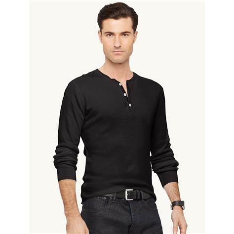 Gervin Shirt Black By Berrybenka Labe ralph black label cotton blend henley shirt in black for lyst