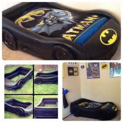 Toddler Race Car Bed For Sale Bat Mobile Bed We Turned A Tykes Blue Race Car Bed