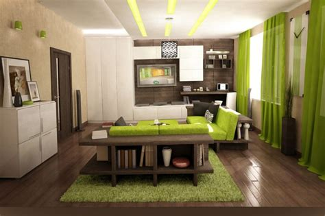 green wall color family room with wood flooring and decorative wall shelves antiquesl