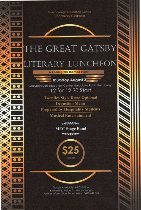 literary themes great gatsby the great gatsby literary luncheon mec chaplaincy