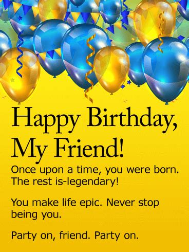 Happy Birthday Wishes To My Friend Quotes Party On Happy Birthday Wishes Card For Friends