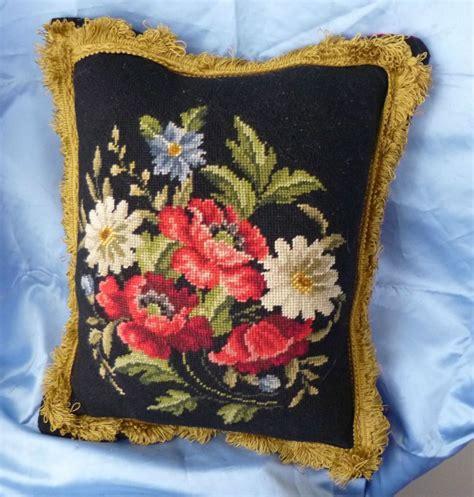 vintage floral black needlepoint gold trim velvet