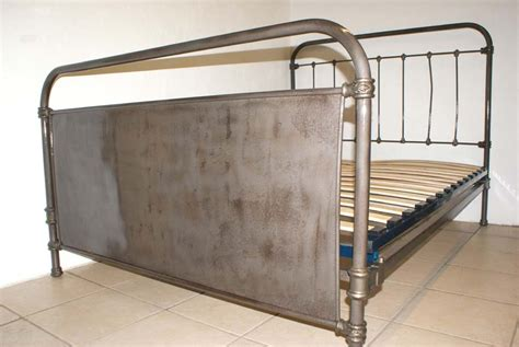 industrial bed industrial style 4 ft 6 double bed french renovated
