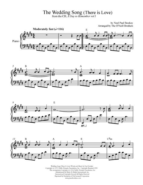 Wedding Song Piano by The Wedding Song Wedding Sheet Preview