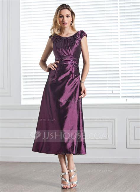 a linie tragerlos wadenlang taft brautjungfernkleid mit rusche p335 a linie princess linie u ausschnitt wadenlang taft