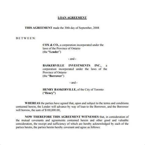 directors loan to company agreement template 26 great loan agreement template
