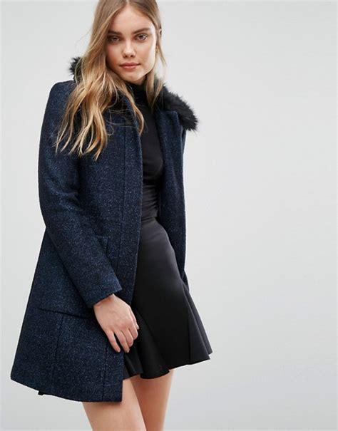 warehouse swing coat warehouse warehouse swing faux fur collar coat