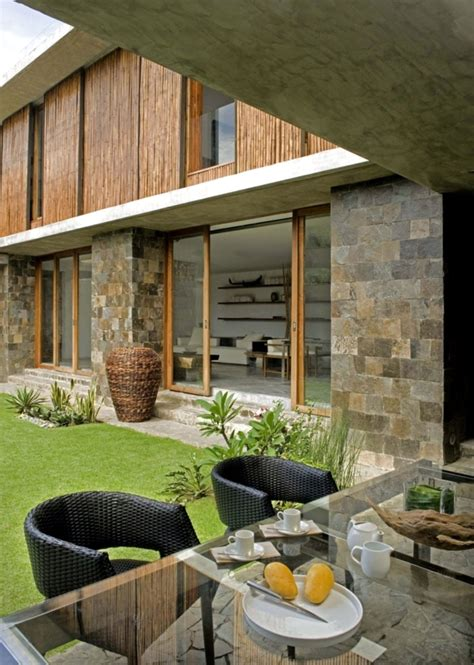 exotic wood  stone house   philippines interior
