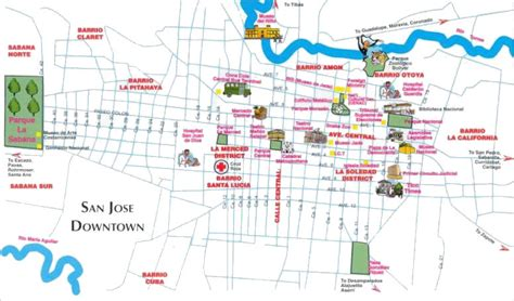 san jose tourist map costa rica map san jose