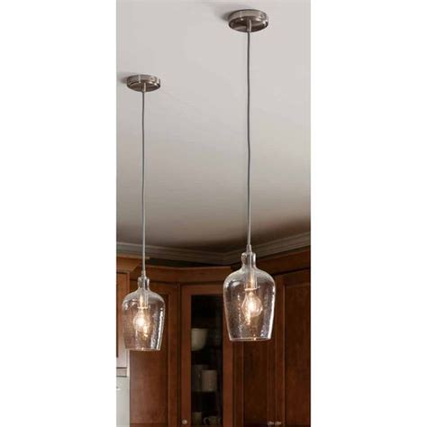 Kitchen Mini Pendant Lights Shop Allen Roth 6 In W Brushed Nickel Mini Pendant Light With Clear Shade At Lowes