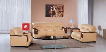contemporary living room sets beige leather 3pc modern living room set w wooden armrests