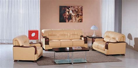 beige leather 3pc modern living room set w wooden armrests
