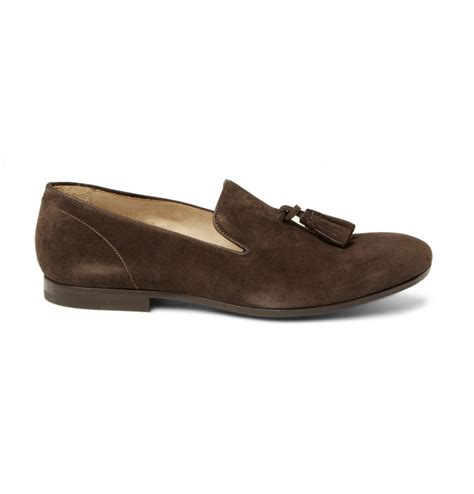 brown tassel loafers mcqueen suede tassel loafers in brown for lyst