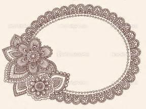 Lace doily henna flower frame doodle vector border stock vector