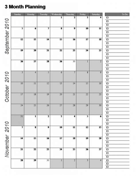 Three Month Planning Calendar Template | 3 month calendar template publisher printable calendar