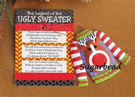 ugly christmas sweater poems legend of the sweater tree ornament favor gift stuffer the o jays