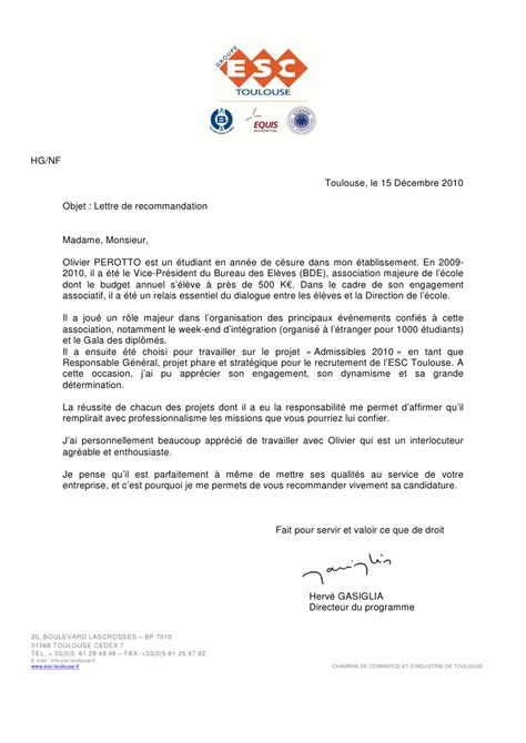 Lettre De Recommandation Essec Reference Letter Director Of Esc Toulouse