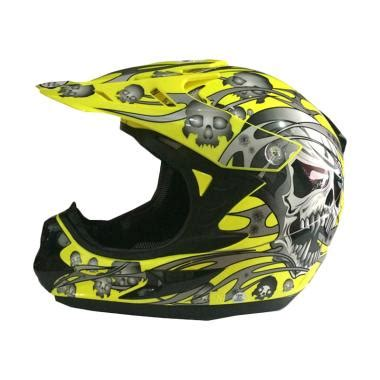 Helm Snail 309 Yellow jual snail helmet 309 helm motor cross yellow skull