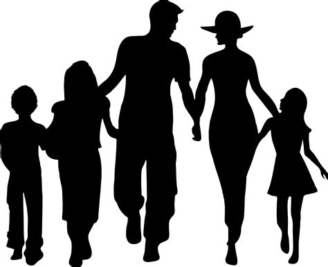 Silhouette clipart family   Pencil and in color silhouette