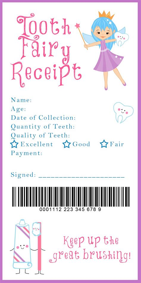 tooth receipt template tooth receipt printable such a idea just