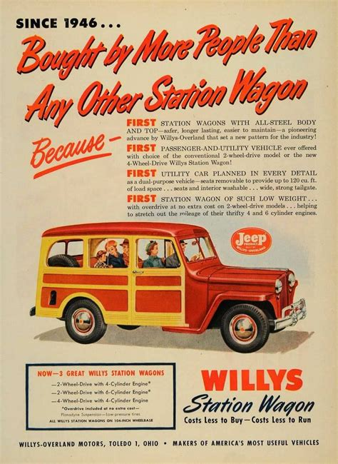 vintage jeep ad 1950 ad willys overland vintage station wagon jeep
