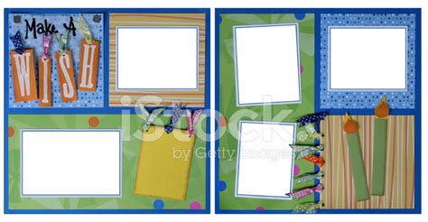 double layout scrapbook pages double page scrapbook layout birthday stock photos