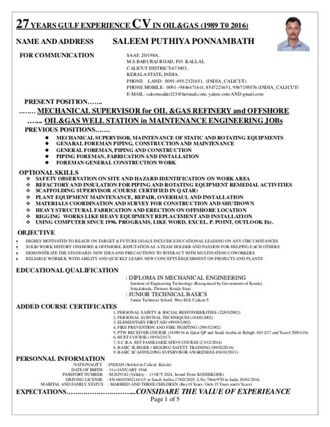 Piping Construction Supervisor Resume by Supervisor Cv For Onshore And Offshore Mechanical