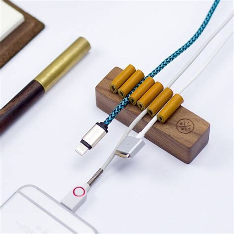 wire holder for desk natural wooden universal desk cable organizer winder wire