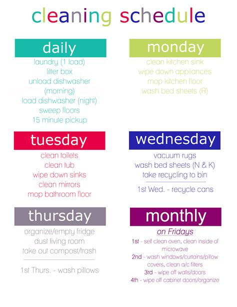 printable laundry schedule cleaning schedule printable nekaro co