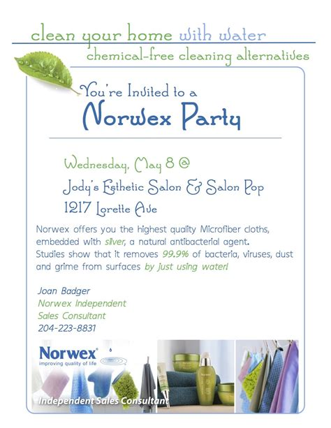 printable norwex invitations live clean live well