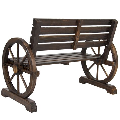 rustic wagon wheel bench bcp patio garden wooden wagon wheel bench rustic wood