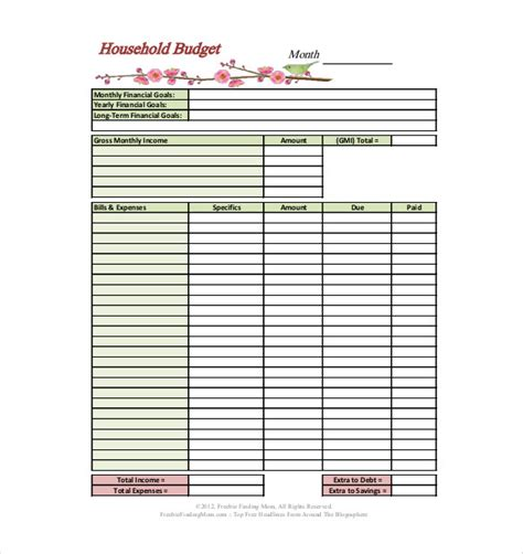 10 Household Budget Template Detailed Template