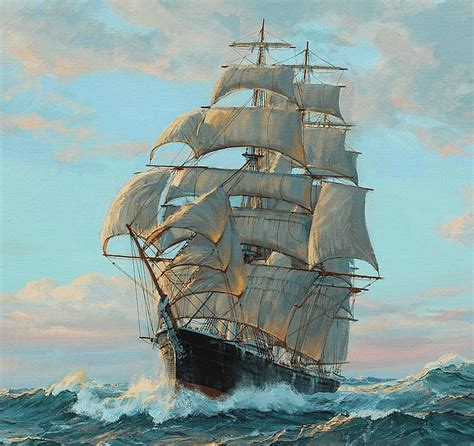 nautical painting charles vickery clipper ship painting by burchard