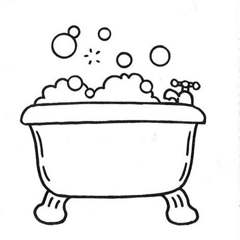 coloring page bathroom bathtub coloring pages