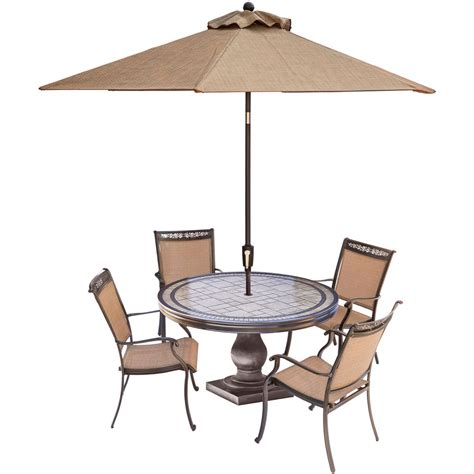 umbrella table and chairs fontana 5 outdoor dining set with four sling back