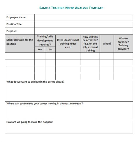 training needs analysis template 14 download documents