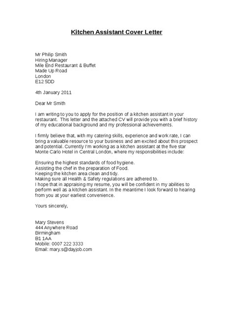 cover letter exles kitchen application letter sle kitchen cover letter sle