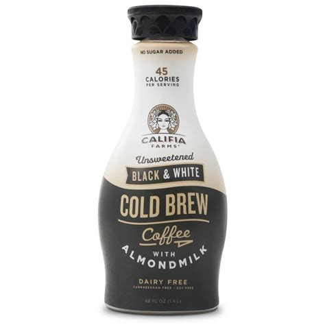 Cold Brew Coffee With Milk califia farms dairy soy free unsweetened black white cold brew coffee with almond milk 48 oz