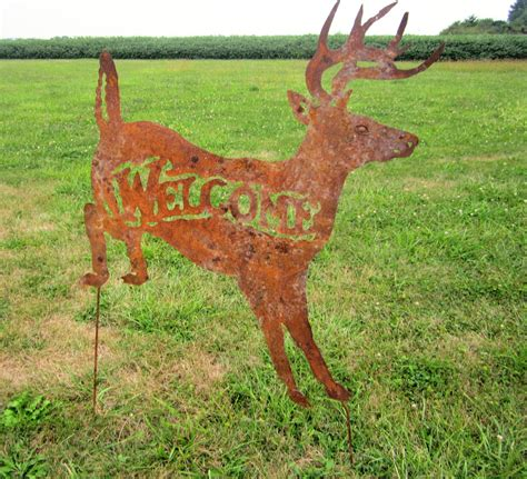 rustic metal deer welcome yard ornament lawn stake