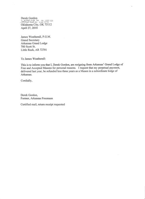 Resignation Letter For A You resignation letters pdf doc