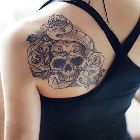 fake rose tattoos temporary tattoos back skull snake transfer