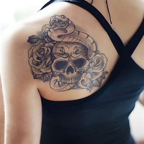 sexy body tattoos temporary tattoos back skull snake transfer