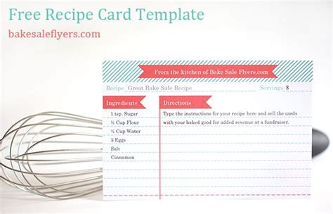 Free Templates For Recipe Cards That You Can Fill In by Free Recipe Card Template You Can Type In Your Recipe In