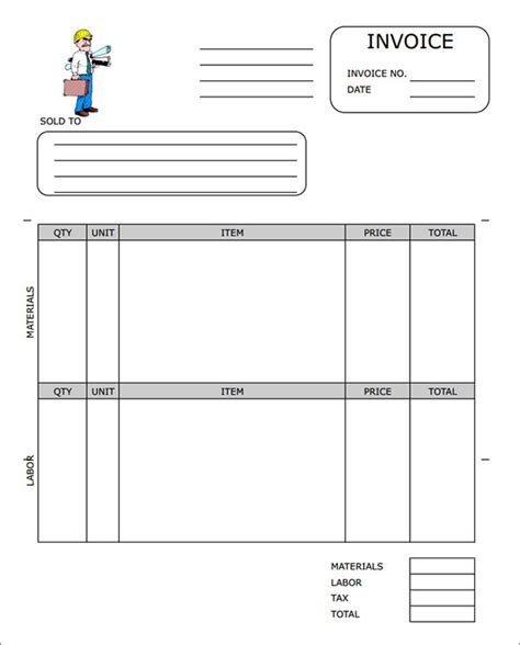 concrete work receipt template sle contractor invoice templates 14 free documents