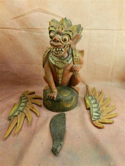 tattoo monkey bali antique bali thai singha wood statue winged dragon lion
